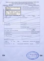 Page 1 - Animal Health Certificate EU. I had one document per animal.